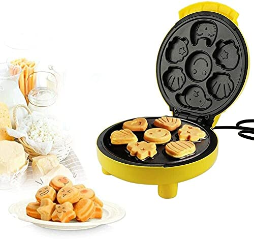 Máquina de palomitas de palomitas de pastel, fabricante de cupcake, fabricante de gofres automáticos, para Muffin / Donut Maker, con 7 orificios, placas antiadherentes, 24 * 21 * 12.5cm, Amarillo