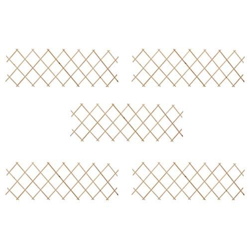 Tidyard Clôture en Treillis pour Plantes Treillis en Bois Extensible 5 pcs 180x60 cm