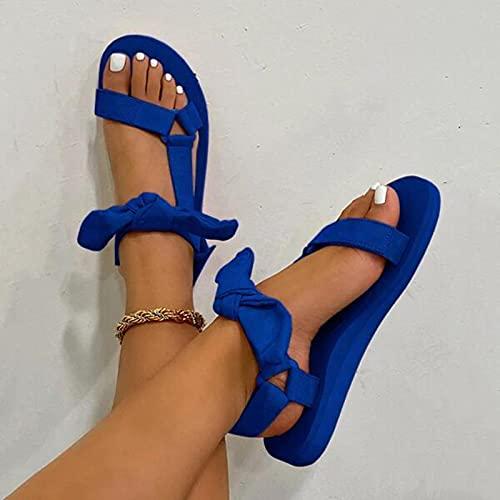 TER Zapatos de Playa con Lazo para Mujer, Bonito diseño de Corbata, Lazo de Gancho, Sandalias Planas Informales, Zapatos con Punta Abierta de Guinga, Velcro
