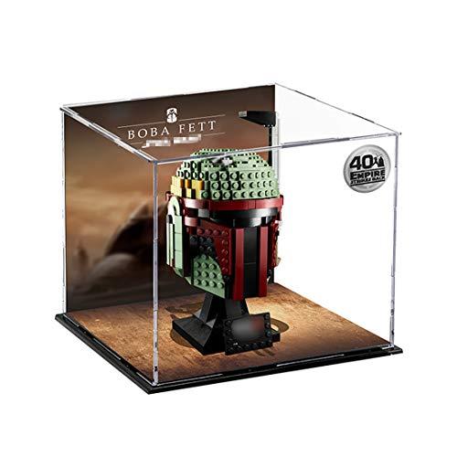 LuoKe Acryl Display Box Baustein Staubdichte Box Show Box für Lego Star Wars Boba Fett Helm 75277