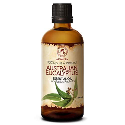 Aceite Esencial de Eucalipto 100 ml - Aceite de Eucalipto Radiata Australiano Natural y Puro - Mejor Aceite de Fragancia para Difusor de Aroma - Humidificador - Quemador - Sauna - Aromaterapia - Yoga