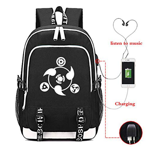 Anime Naruto Cosplay Daypack Laptop Bag Backpack School Bag with USB Charging Port (#1)