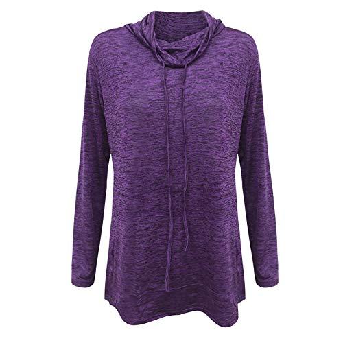 IHGWE Suéter de manga larga para mujer, estilo informal, con capucha, estampado de rayas, cuello redondo, estampado de patchwork, sudadera con capucha morado XXXL