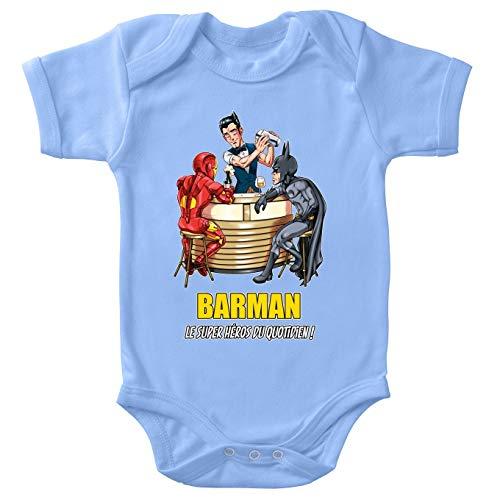 Body bébé Manches Courtes Garçon Bleu Parodie MCU - Justice League - Iron Man et Batman et.Barman - Barman, Le Super Héros du Quotidien ! (Body bébé de qualité supérieure de Taille 3 Mois - Imprim