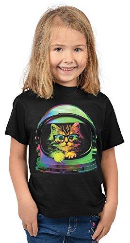 Katzen-Motiv Kindershirt - Astronauten Katze - buntes Katzenshirt für Kinder : Space Kitten - Tiermotiv Katze Kinder T-Shirt Gr: L = 146-152