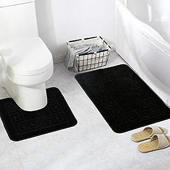 Pauwer Bath Mats Sets 2 Piece Non Slip Pedestal And Bath Mat Set For Bathroom Floor Black Amazon Co Uk Kitchen Home