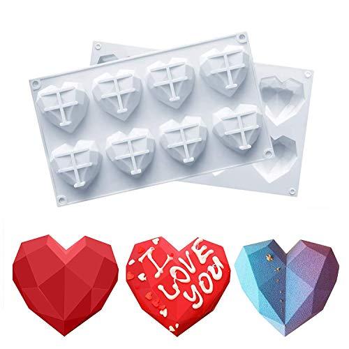 2 Stück 3D Diamant Herzform Kuchenform DIY Valentinstag Dekoration Seifenformen Verzierung mit 8 Hohlräume für Lieblings Valentinstag Verzieren Kuchen Mousse Brownie Süßigkeiten Biskuitform Eiswürfel