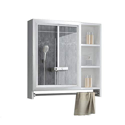 Badkamer kast/locker muur gemonteerde medicijnkast-opslag rek met spiegel deur en handdoek rek, ruimte aluminium