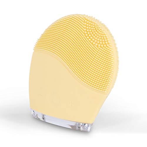CREATE IKOHS Elettrico Spazzola di Pulizia del Viso FACE WAVE - Spazzola facciale in silicone, ringiovanisce la pelle, massaggiatore, per tutti i tipi di pelle, Spazzola esfoliante, USB (Giallo)