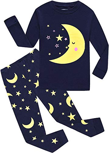 Jungen Schlafanzüge Kinder Langarm Dinosaurier Pyjama Zweiteiliger Nachtwäsche 92 98 104 110 116 122 (Star Mond, 92 (Herstellergröße 100))