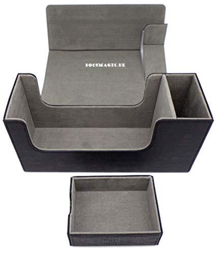 docsmagic.de Premium Magnetic Tray Long Box Black Small - Card Deck Storage - Caja Juegos Des Cartas Negra