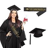 SEELOK Sombrero de Graduación Banda de Graduación con letras'The Graduate' Birrete Graduacion Adulto Gorro de Estudiante Graduado con Borla Decoración para Ceremonias de Graduación