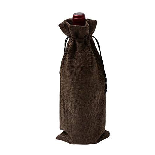 HMILYDYK Bolsas para botellas de vino, bolsas de regalo para bodas, fiestas, bolsas de regalo con cordón para botellas de 750 ml, 30 unidades de café