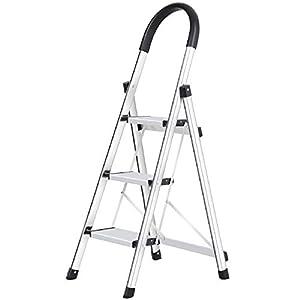WolfWise Escaleras Plegables Aluminio de 3 Peldaños Portátil Antideslizante con Empuñadura de Goma Capacidad de 330 libras, Escaleras de Plata para el Hogar