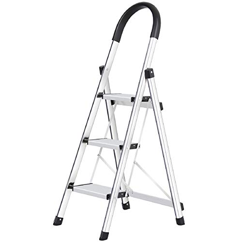 Lionladder 3 Step Ladder, Folding Step Stool with Wide Anti-Slip Pedal, 330lbs Sturdy Steel Ladder, Sponge Safety Handgrip, Lightweight, Portable Step Stool,Silver