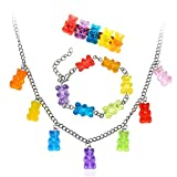 Lovely Colorful Gummy Bear Necklace Bracelet Hairpin Set Cute Fashion Resin Candy Color Tiny Animal Charms Dangling Pendant Necklace Barrette for Women Girls Adorable Gift