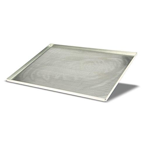 Pentole Agnelli Pasticceria e Pizza Teglia Rettangolare Microforata, Foro 2 mm in Lega 3003, Alluminio, 60 x 40 x 2 cm