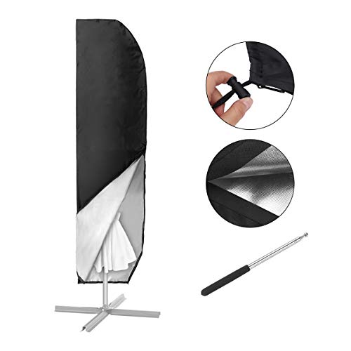 MOHOO Parasol Cover,Large Parasol Umbrella Cover for Ø 4M, 420D Waterproof Oxford Fabric cantilever parasol Outdoor Umbrella Cover With telescopic rod - Black