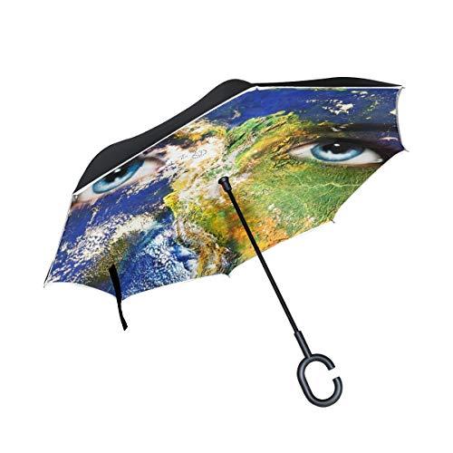 Mnsruu Double Couche inversé parapluies Planète Terre et Bleu Oeil Humain Pliant Parapluie Coupe-Vent Protection UV pour Une Utilisation de Voiture Pluie en Plein air avec poignée en Forme de C