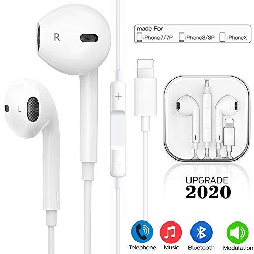 In-Ear Kopfhörer für iPhone 11 HiFi-Audio Stereo Kopfhörer Ohrhörer, mit Mikrofon und Lautstärkeregler,Kompatibel mit iPhone 11/11 Pro Max/X/XS Max/XR 8/8Plus 7/7Plus unterstützt alle iOS Systeme