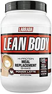 LABRADA NUTRITION Lean Body High Protein Meal Replacement Shake Power Latte 2.47 lb