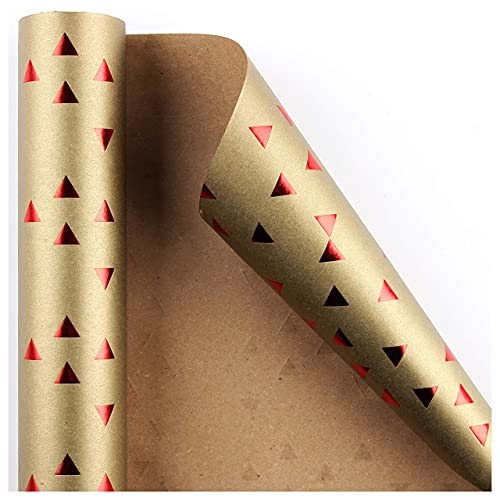 SHARMICO Wrapping Paper Roll - Kraft Tan Gold Colored with Red Triangle Pattern for Birthdays, Christmas, Hanukkah, Bridal Shower, Crafts - 1 Roll; 16 sq. ft.