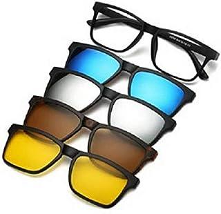 نظارات للجنسين مصنوعة من الإطار الأساسي مع أربع إطارات إضافية ممغنطة بألوان مختلفة تستقطب العدسات الشمسية داخل الحقيبة الج...