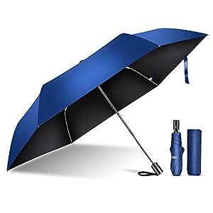 TSUNEO 日傘 折りたたみ傘 UVカット率99.9% 紫外線対策 6本骨自動開閉 梅雨対策 晴雨兼用 台風 超撥水 軽量 折り畳み日傘 レディース メンズ 210T高密度NC布 (ブルー)