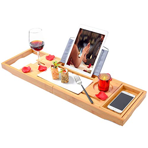Gerap Bamboo Bathtub Trays Bath Table Expandable Luxury Caddy Tray with Extending Sides, Cellphone,Book,Tray and Wineglass Holder- Gift Idea for Loved Ones