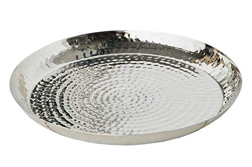 DuNord Design Schale Dekoschale 40cm Silber rund Deko Obstschale gehämmerte Metallschale