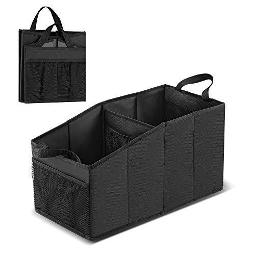 Tsumbay Kofferraum Organizer für Vorder- und Rücksitz, Kofferraumtasche, wasserdichte Auto Faltbox, Faltbarer Aufbewahrungs-Organizer für Auto/Heim/Camping (Schwarz)