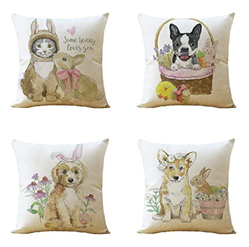 JOVEGSRVA Juego de 4 fundas de almohada decorativas para cojín de perro de acuarela, 45 x 45 cm, fundas de almohada para sala de estar, sofá, cama, fundas de almohada