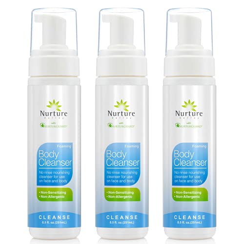 Rinse Free No Shower Body Wash by Nurture Valley | Full Body Waterless Cleansing Foam That Also Moisturizes, and Protects Skin - Wipe Away Cleanser - 3 Bottles