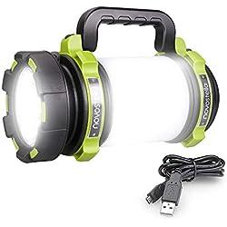 NOVOSTELLA Torcia LED Ricaricabile 1000LM, 4 modalità Lampada Campeggio 4000 mAh Power Bank, Lampada Portatile Luminosa Antipioggia Ricaricabile Illuminazione per Campeggio, Pesca, Trekking