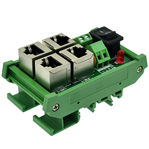 CZH-LABS DIN-Schienenhalterung 2 Ports passiv RJ45 PoE Power Injection Board, Power Over Ethernet Injector Modul.
