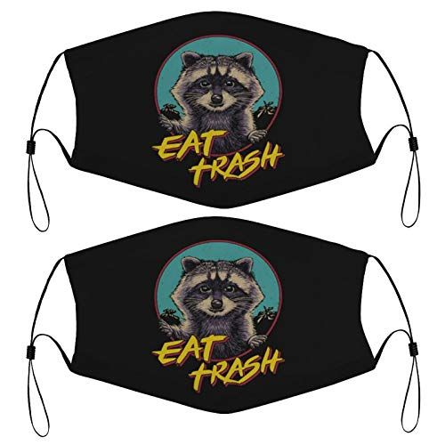 Eat Trash Raccoon Panda Kids Face Mask Set of 2 with 4 Filters Washable Reusable Adjustable Black Cloth Bandanas Scarf Neck Gaiters for Adult Men Women Fashion Designs