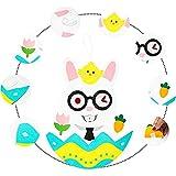 Cmstop Conejito de Pascua de Fieltro Juego de Conejo de Fieltro DIY con Adornos Desmontables Juegos de Pared de Pascua Decoraciones Regalos de Pascua Colgante Colgante de Pared