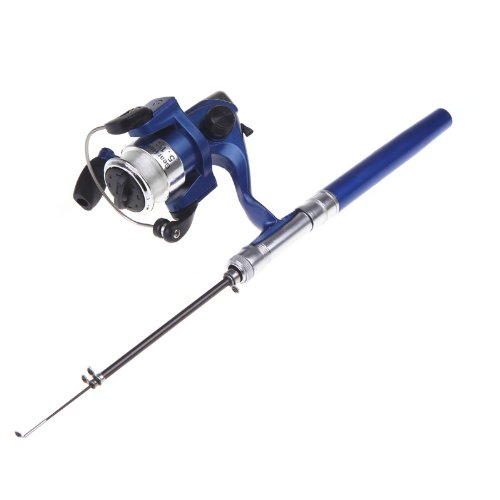 Lixada Angelrute Aluminium Pocket Pen Rod Fishing Mini Teleskop Angelrute Pole + Aufroller (Blau)