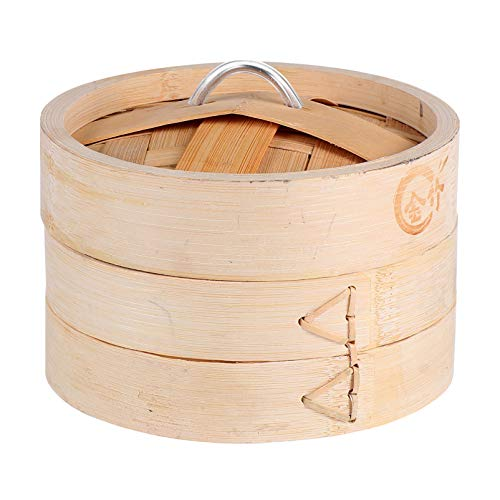Hemoton Vaporiera in bambù Cesto a 2 Livelli Cestello per Verdure a Vapore per Riso Verdure Carne Pesce Gnocchi E Dim Sum