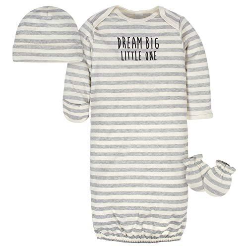 Gerber Baby Organic Gown, Cap and Mitten Set, Dream Big Gray, 0-6 Months