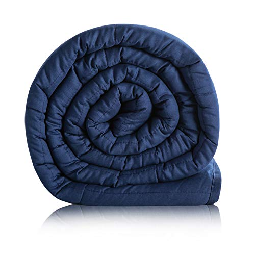 Bedsure Weighted Blanket 15 pounds - 60 x 80 inch Queen ,Weighted Blankets Adult with Glass Beads 100% Cotton Navy Heavy Blanket