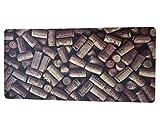 LaVelaHome - Alfombra de PVC para cocina, 50 x 107 cm, un cuadro al suelo, con tapones de corcho y vino