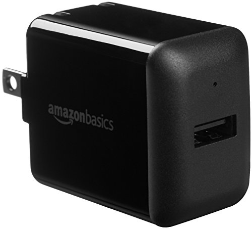 Amazon Basics One-Port USB Wall Charger for Phone, iPad, and Tablet, 12W - Black