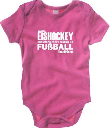 Krokidil Baby Body WM WENN Eishockey SCHWIERIG WÄRE WÜRDE ES FUßBALL HEIßEN Cup BRASILIEN, Farbe pink, Größe 6-12 Monate