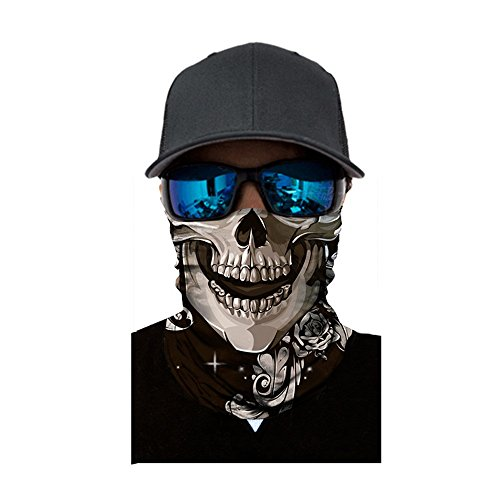99native Fishing Totenkopf Schal Skull Bandana Gesichtsmaske Extreme Sport Rad Motorcycle Bike Outdoor Sturmmaske,Protect from Dust Sun Wind Halswärmer (D)