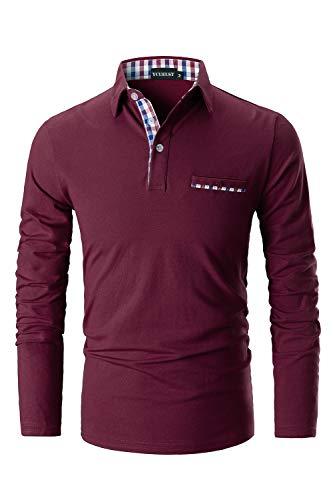 YCUEUST Uomo Cotone Lattice Polo Basic Golf Tennis Casual Reticolo T-Shirt Rosso x-Large