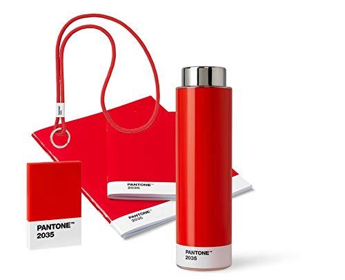 Pantone 18236 Unterwegs, rot, aus Trinkflasche, Schlüsselband Keychain Long, Booklet 2er-Set und Visitenkartenhalter, Red 2035, 5 Produkten, 5 Komponente