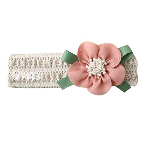 QHGstore Baby-Stretchy Stirnband-große Blumen-Spitze-Baby-Haar-Band-Haar-Zusätze hellrosa