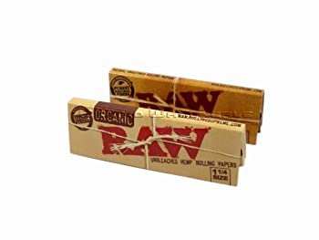 RAW Organic Unbleached HEMP 1¼ Rolling Papers + RAW Unrefined 1¼ Rolling Papers 1 of Each