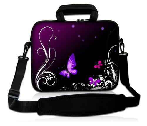 Luxburg Design Laptoptasche Notebooktasche Sleeve mit Schultergurt und Fach für 17,3 Zoll, Motiv: Schmetterlinge lila